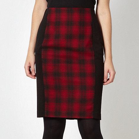 Red Herring - Black checked panel pencil skirt