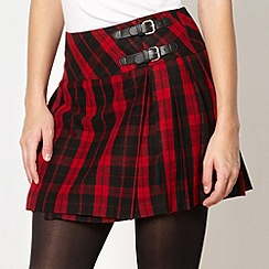 Red Herring - Red tartan pleated kilt skirt