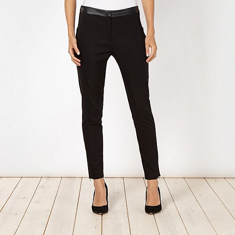 Red Herring - Black smart faux leather trimmed trousers