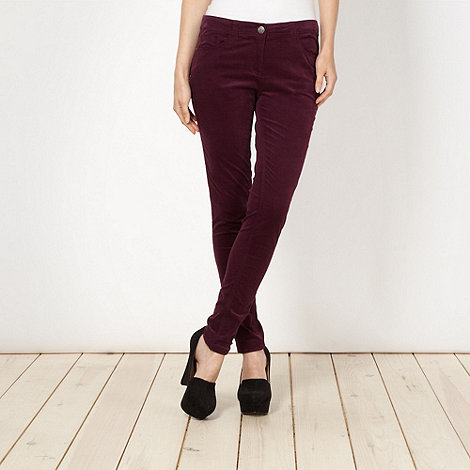 Red Herring - Dark purple skinny cord trousers