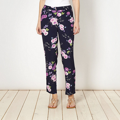 Red Herring - Navy floral crepe trousers