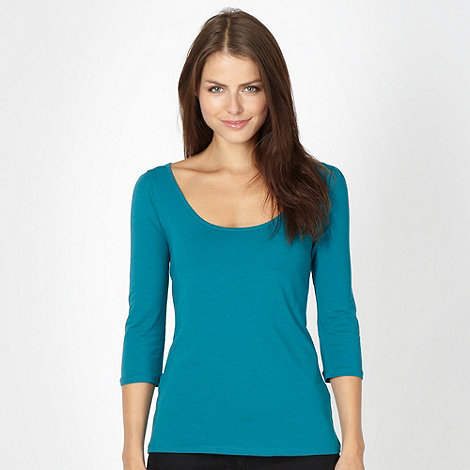 Red Herring - Turquoise three quarter scoop top