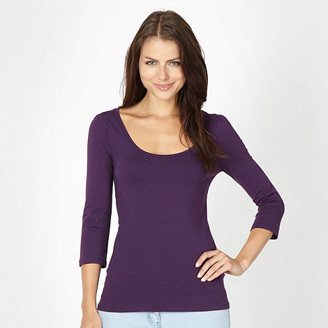 Red Herring - Purple three quarter scoop top
