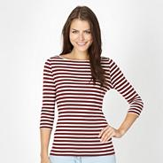 Wine breton striped top