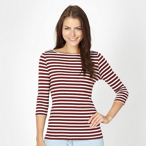 Red Herring - Wine breton striped top