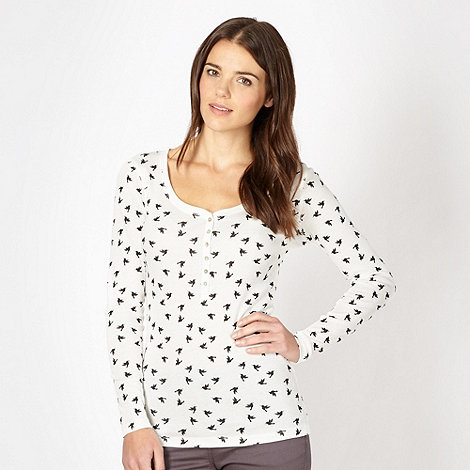Red Herring - White bird print jersey top