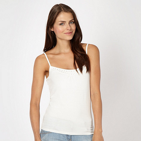 Red Herring - Cream diamante neck camisole top