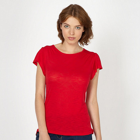 Red Herring - Red gathered shoulder t-shirt