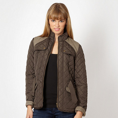 Red Herring - Dark olive quilted jacket