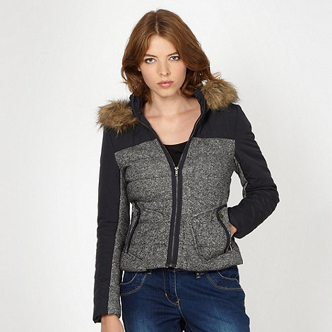 Red Herring - Black padded faux fur trim jacket