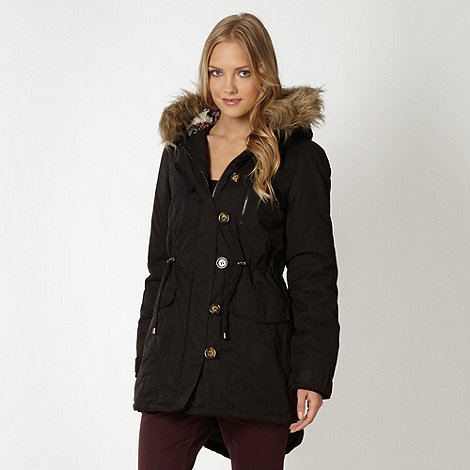 Red Herring - Black hooded parka coat