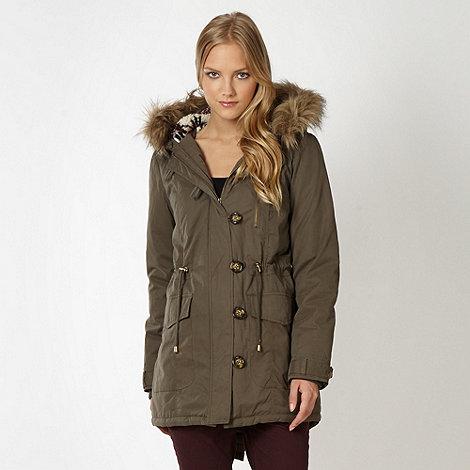 Red Herring - Khaki faux fur hood parka jacket
