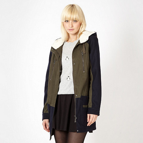 Red Herring - Khaki colour block parka jacket