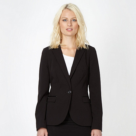 Red Herring - Black PU collar blazer