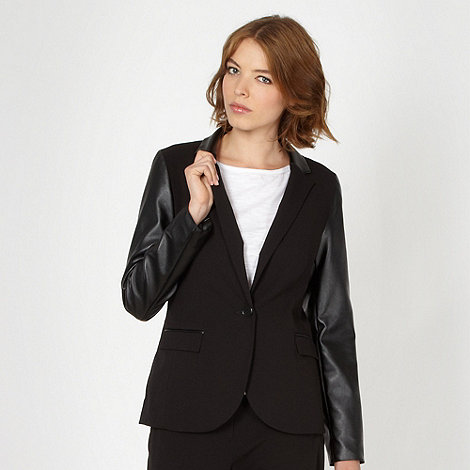Red Herring - Black PU sleeve blazer