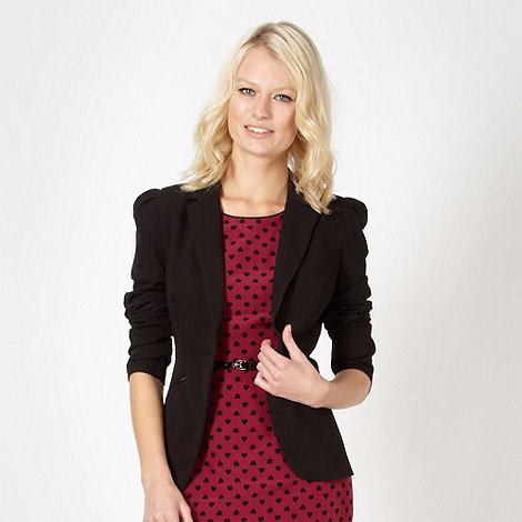 Red Herring - Black ruched zip blazer