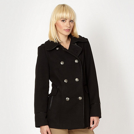 Red Herring - Black faux leather trimmed double breasted coat