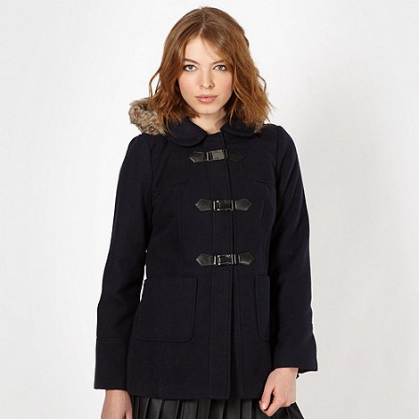 Red Herring - Navy buckle front coat