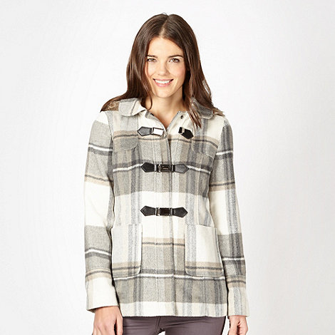 Red Herring - Grey checked faux fur hood coat
