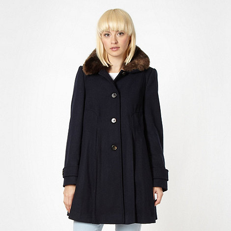 Red Herring - Navy faux fur collar coat