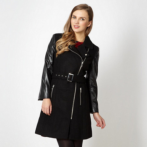 Red Herring - Black belted biker style coat