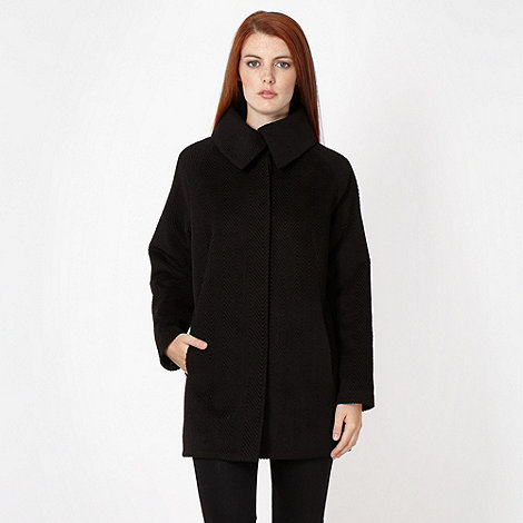 Red Herring - Black textured cocoon coat