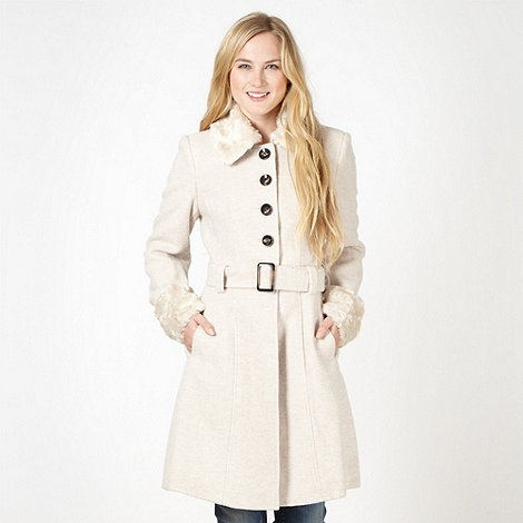 Red Herring - Cream faux fur collar fit and flare coat