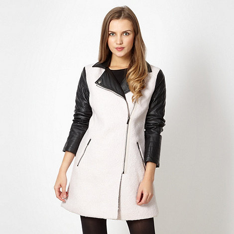 Red Herring - Cream biker style coat