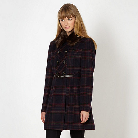 Red Herring - Navy checked double breasted belted coat