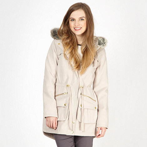 Red Herring - Beige quilted faux fur coat
