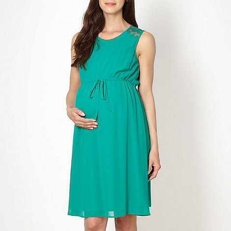 Red Herring Maternity - Green lace insert maternity dress