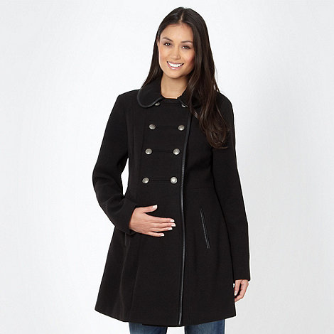 Red Herring Maternity - Black faux leather tipped maternity coat