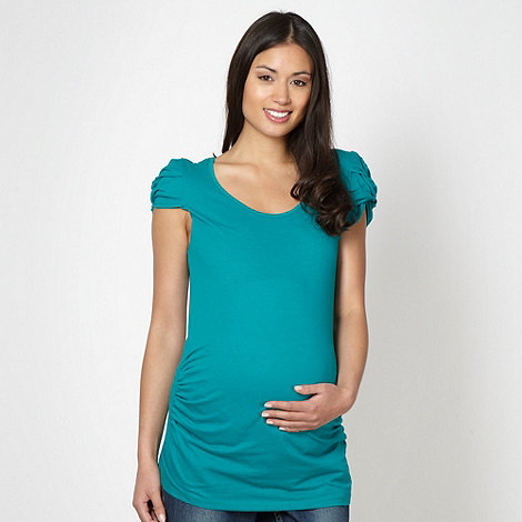 Red Herring Maternity - Green knotted sleeve maternity top