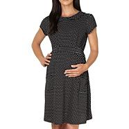 Black polka dot jersey maternity dress