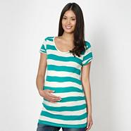 Green textured striped maternity t-shirt