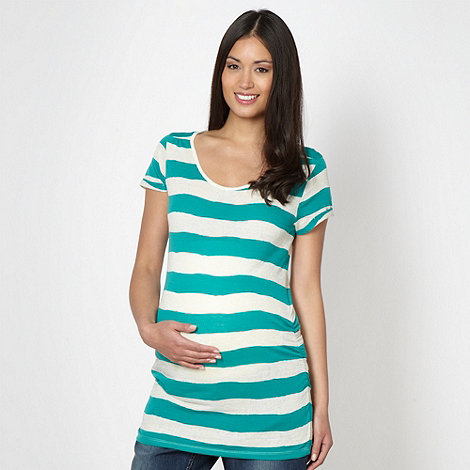 Red Herring Maternity - Green textured striped maternity t-shirt