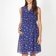 Blue chiffon dragonfly printed maternity shirt dress