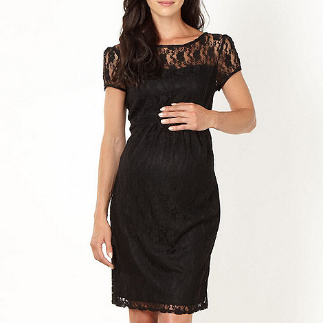Red Herring Maternity - Online exclusive black lace maternity dress
