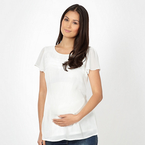 Red Herring Maternity - Ivory pleated maternity top