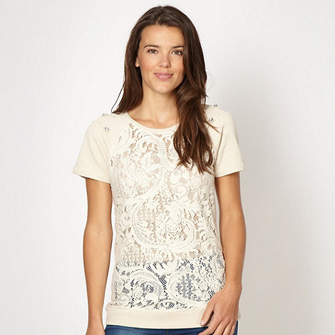 Red Herring - Cream lace front short sleeved top