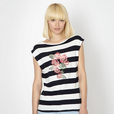 Red Herring - Navy cut and sew striped floral top