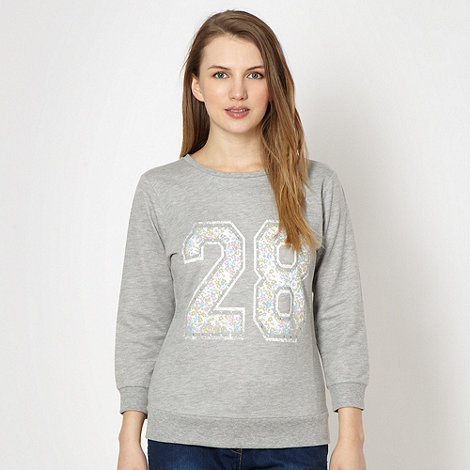 Red Herring - Grey diamante number motif sweatshirt