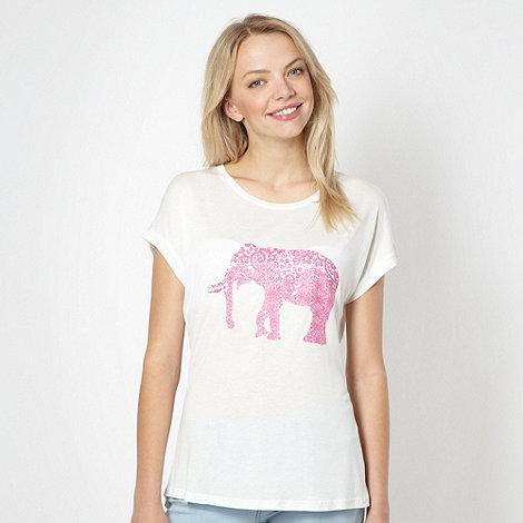 Red Herring - Cream elephant printed t-shirt