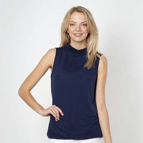 Red Herring - Navy jersey high neck vest