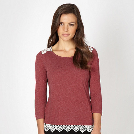 Red Herring - Dark red crochet trim top