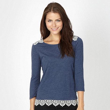 Red Herring - Navy crochet trim top