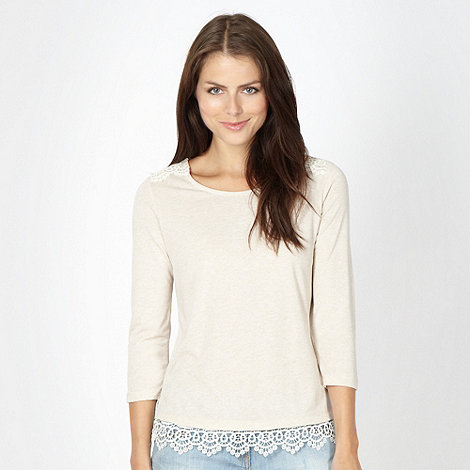 Red Herring - Beige crochet trim top