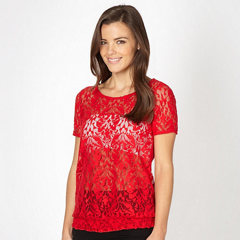Red Herring - Red brushed lace top