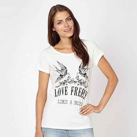 Red Herring - Ivory bird and rhinestone slogan t-shirt