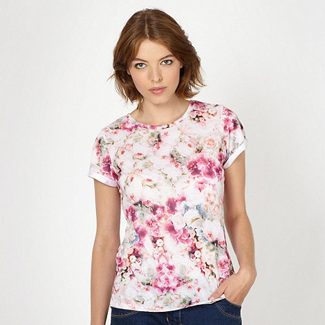 Red Herring - Pale pink floral t-shirt